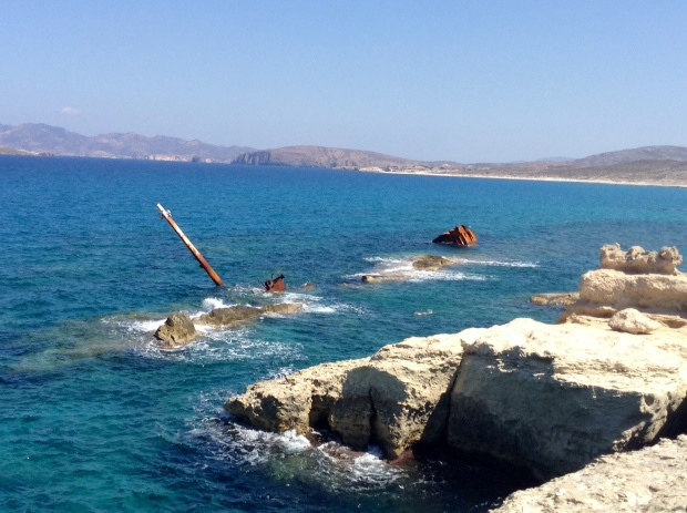 Sunken ship in Milos Greece