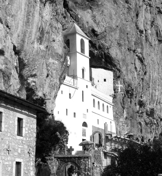 Black and white Ostrog Monastery in rock
