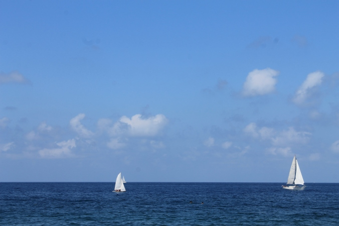 two sailing boats in Mellieħa Bay