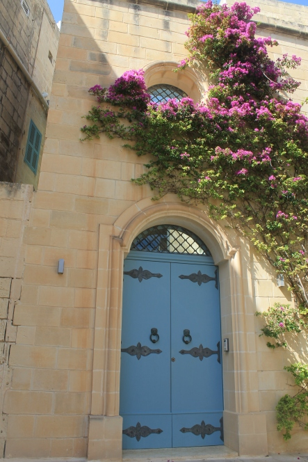 Blue doorway and flowers
