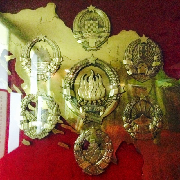 6 shields of the different republics surrounding the Yugoslavia shield