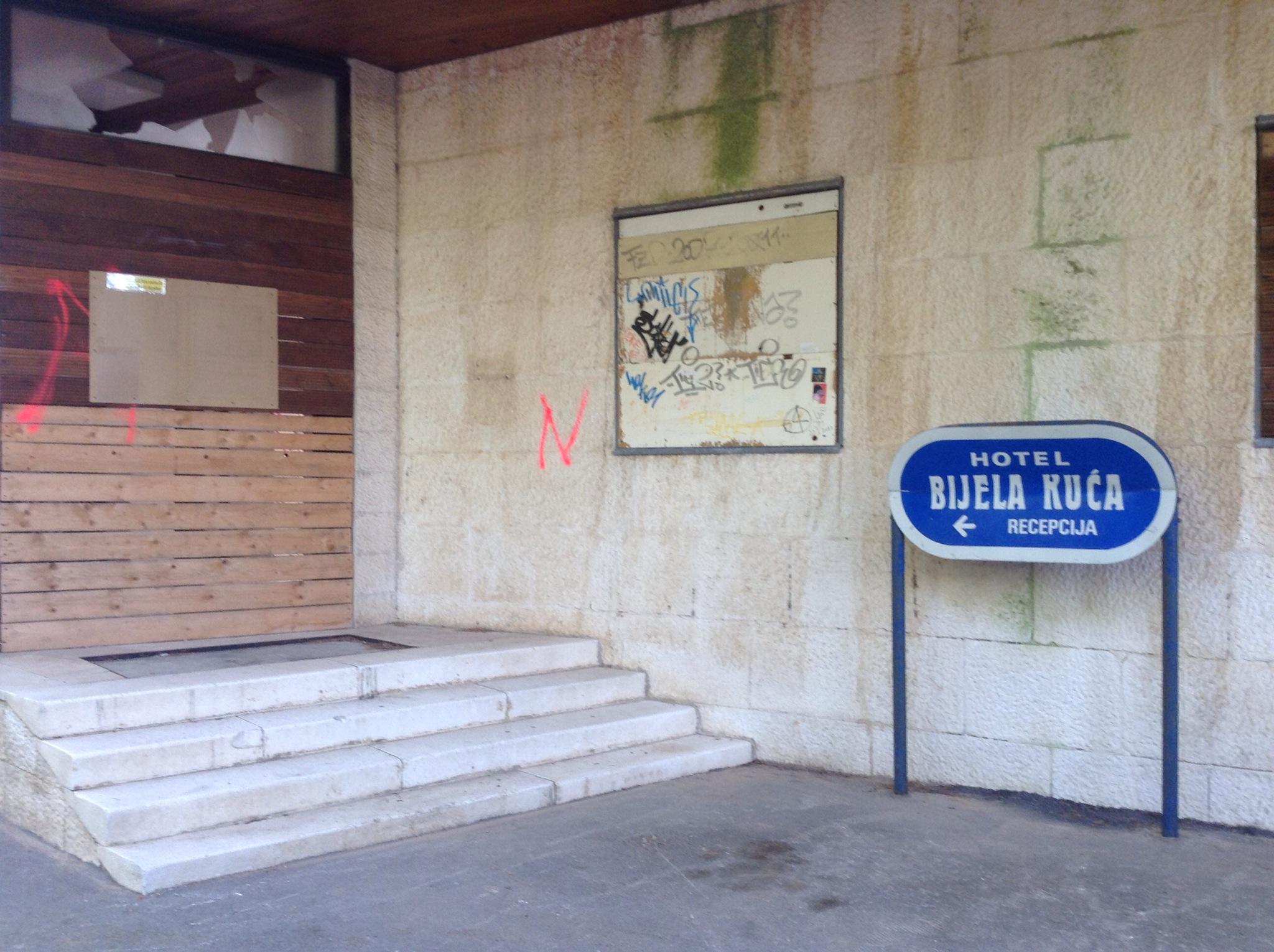 Abandoned hotel in Bol Croatia graffiti on walls