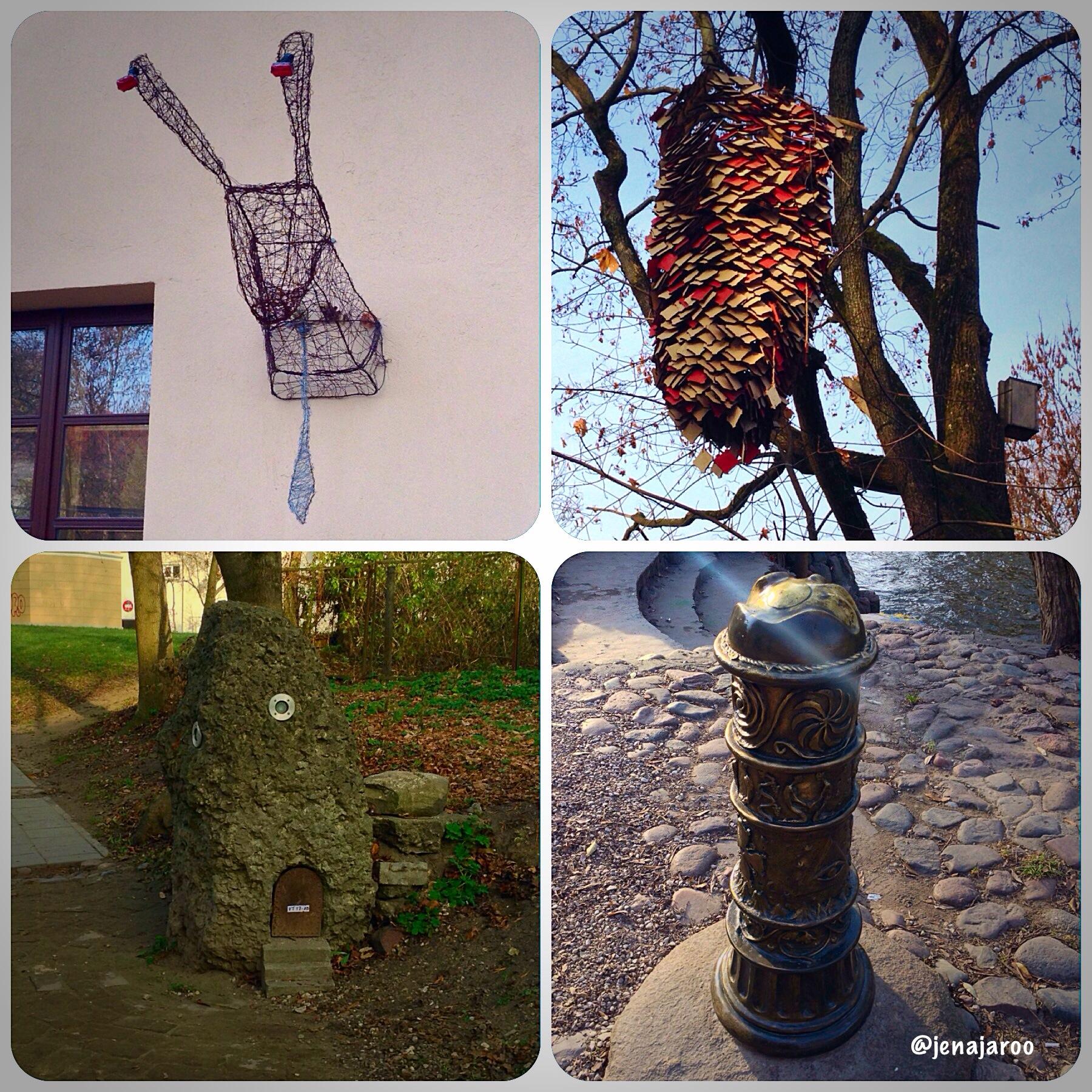 Užupis artwork rabbit head, beehive,  mound