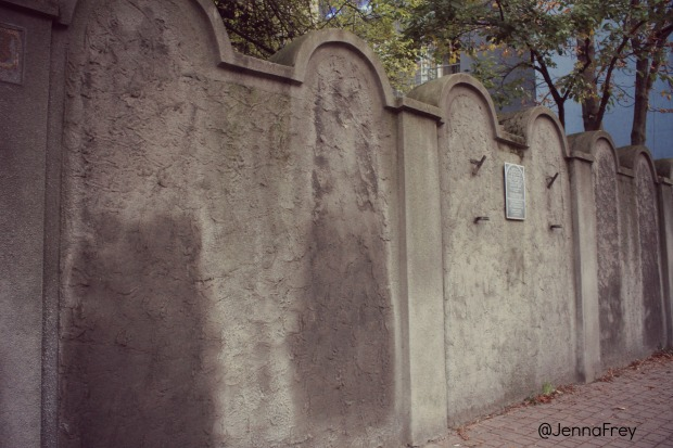 The last remaining wall of Krakows Jewish Ghetto